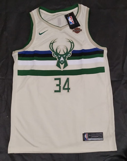 Camisa Basquete Milwaukee Bucks Bege - Antetokounmpo 34