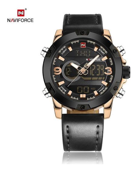 Relógio Masculino Naviforce 9097 Original Pulseira De Couro