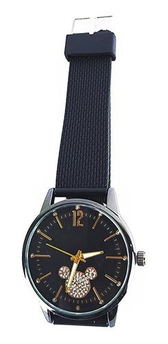 Relógio Feminino Efeito Metálico Quartz Preto Disney Fashion