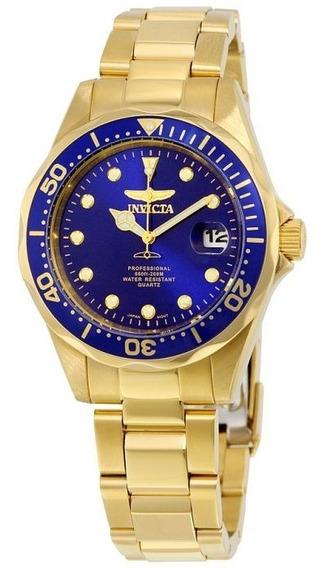 Relógio Invicta Masculino B Ouro 18k + Corrente C Ping