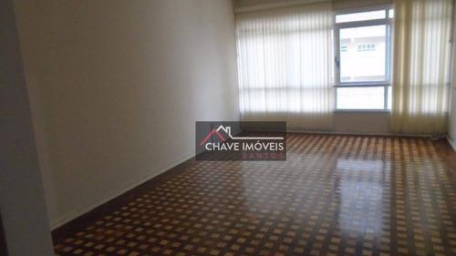 Apartamento Para Alugar, 130 M² Por R$ 4.000,00/mês - Boqueirão - Santos/sp - Ap1225