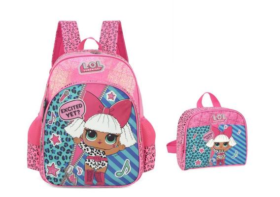 Kit Mochila Escolar Feminina Lol Original Is33001 Lancheira