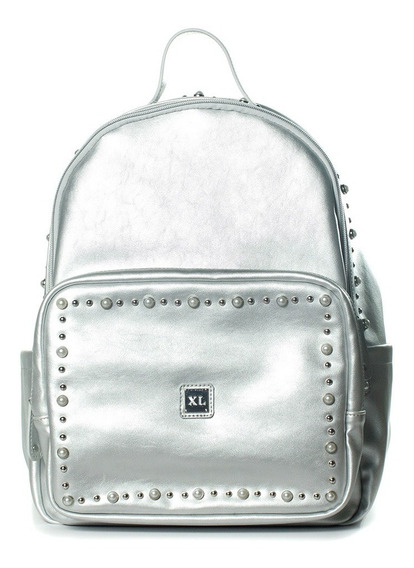 Mochila Mujer Xl Extra Large Lucille Plateado