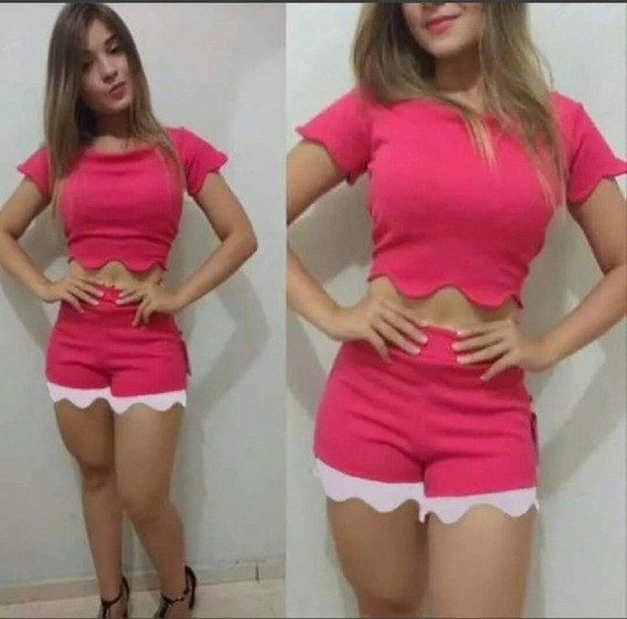 Conjunto Feminino Shorts Cropped Com Bojo Cod 165