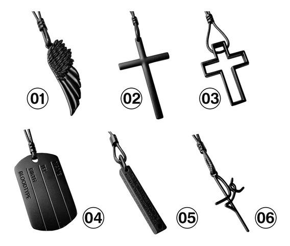 Colar Cordão Regulável All Black Pai Nosso Cruz Placa