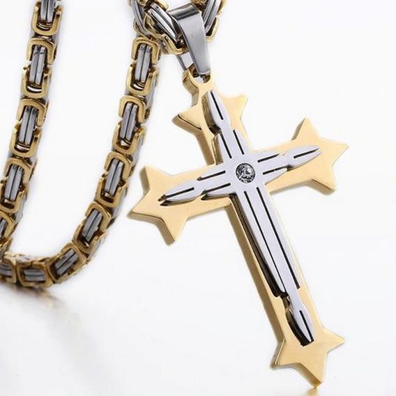 Colar Crucifixo Grande Bizantino De Aço Inoxidável Masculino