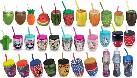 24 Copos Com Canudo Squeeze Drink Decoração Mesa Festa Temas