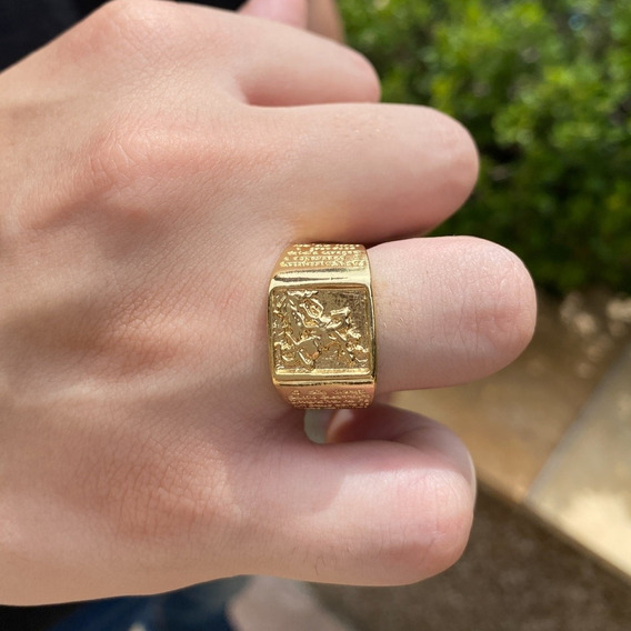 Anel Masculino Com São Jorge E Oração Banhado A Ouro 18k