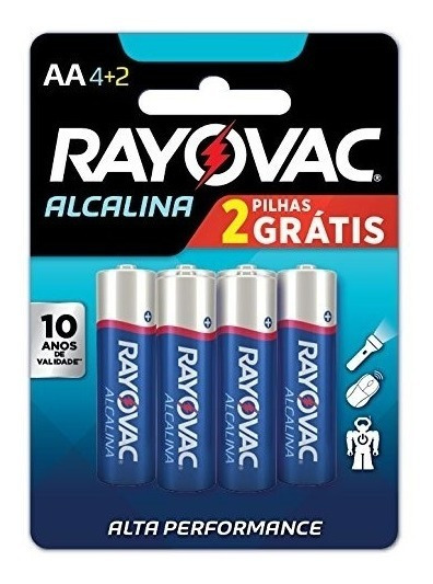 Pilhas Aa Alcalina 4+2 Pequena Rayovac Dura 10x +