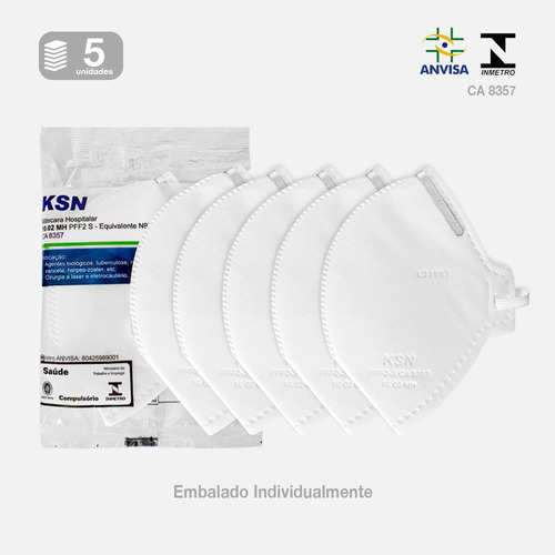Imagem 1 de 1 de Kit Máscaras N95 Descartáveis Proteção Facial Pff2 Com 4 Cam