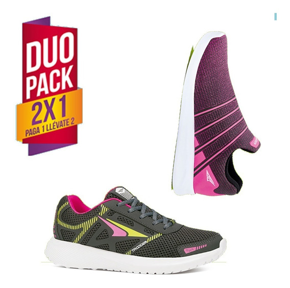 Tenis Para Dama Duo Pack 2x1 Gris/fiusha M.s.shoes + Envio