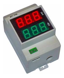 Voltimetro Amperimetro Digital Riel Din Gf-100va 99amp