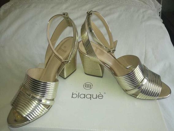 Zapato Sandalia Blaque Dorada N* 37 C/taco Bajo De 5 Aprox