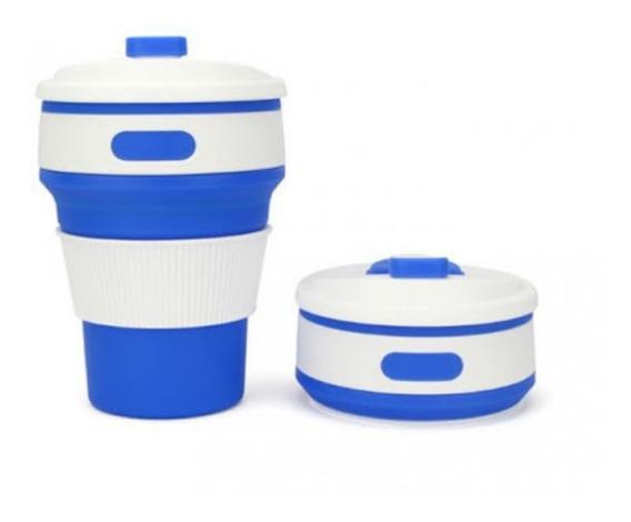 Vaso Silicona Termico Plegable 350ml Bebidas Azul
