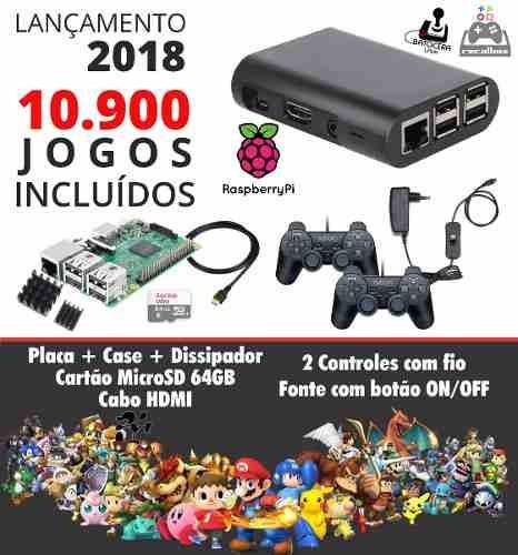 Multijogos Raspberry Pi3 64gb 10936 Jogos Controles Sem Fio