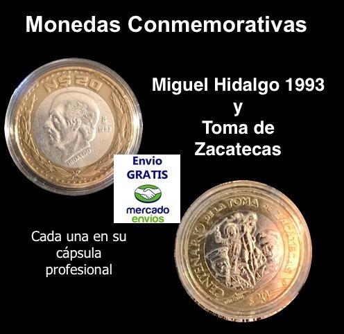 2 Monedas 20 Pesos, Zacatecas E Hidalgo 1993, Envío Gratis