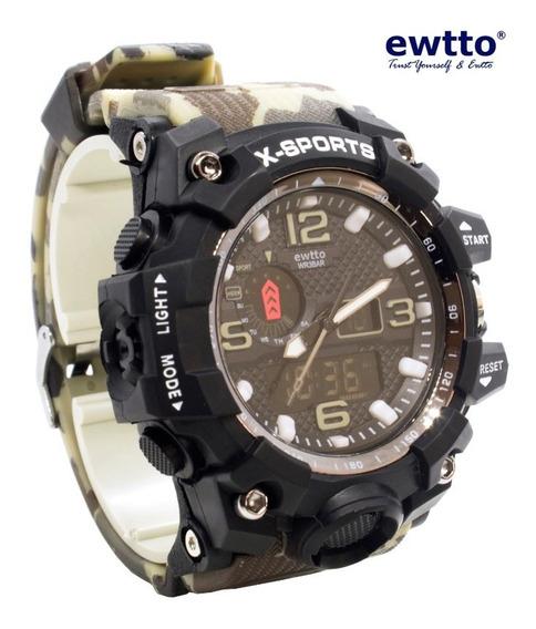Reloj Ewtto Deportivo Camuflado Acuático Para Hombre/oferta