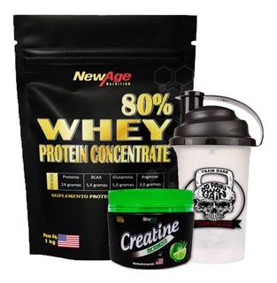 Whey Protein Proteina Suplemento 80% Concentrado + Creatina