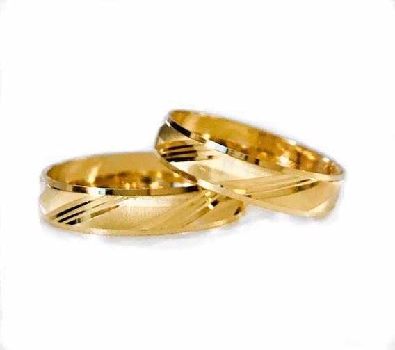 Par Argollas Matrimoniales Oro 10 K 4 Mm Grabado Y Estuche
