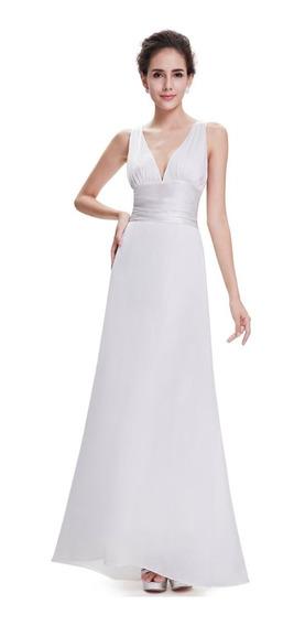 Vestido Fiesta Largo Blanco Crema Talles Grandes