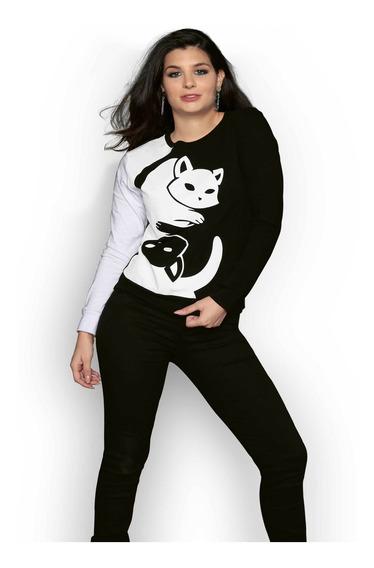 Sudadera Cerrada De Mujer Estampada Gatos Negra Blanca Cool