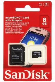 Cartão Memoria Micro Sd 8gb Classe 4 Sandisk Lacradooriginal