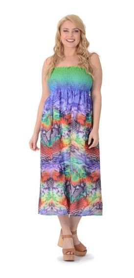 Vestido Portofem Strapless De Seda - Talles Grandes