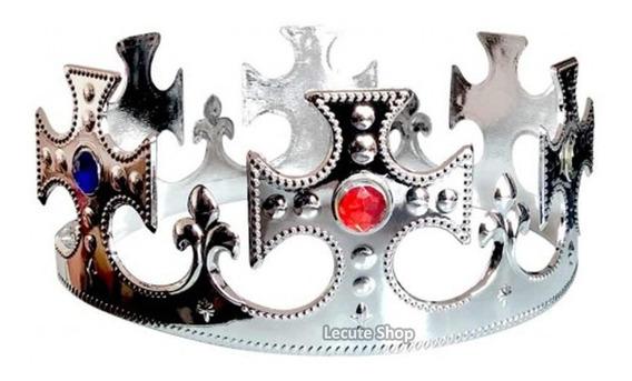 10 Coronas Rey Plastico Reyes Magos Plata Fiesta Eventos