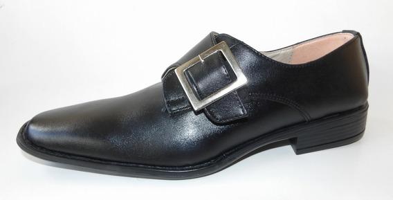 Zapato Hombre Punta Cuadrada Con Hebilla Elastizada