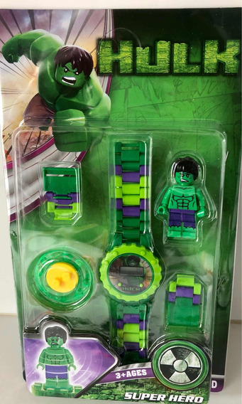 Relógio Infantil C/ Pulseira + Mini Boneco Hulk