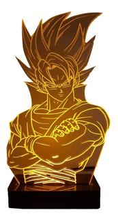 Abajur Luminária Led Goku Dragon Ball Personalizado + Brinde