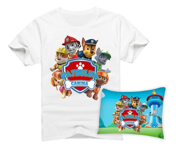 Camiseta Infantil Patrulha Canina +travesseirinho 25x35 Watc