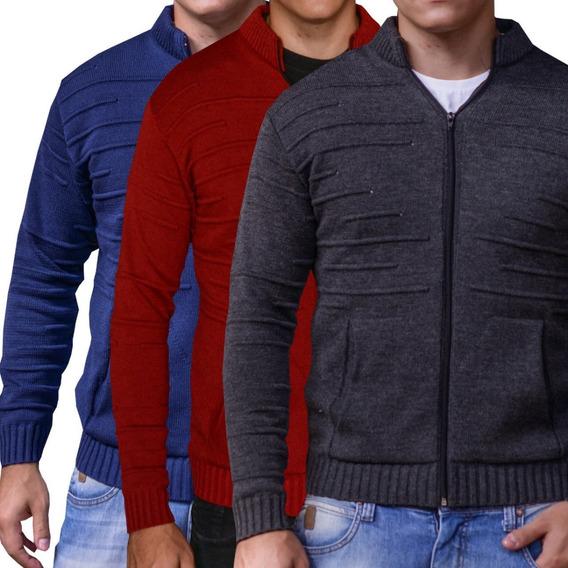 Casaco Térmico Masculino Kit 3 Jaquetas Tricô Roupas De Frio