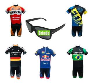 Conjunto Ciclismo Pro - Bermuda + Camisa + Brinde- P Ao 4g