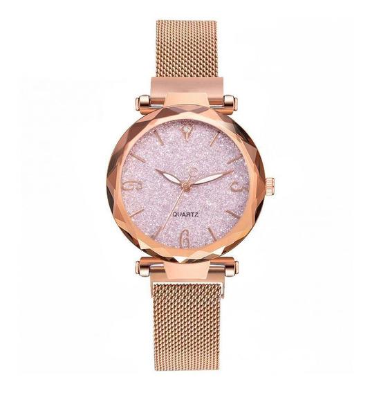 Relógio Feminino Luxo Magnético Céu Estrelado Pulso Malha