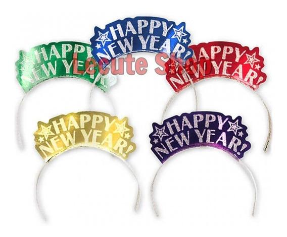 12 Diademas Happy New Year Carton Navidad Fiesta Posadas