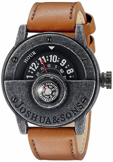 Reloj Brújula Con Correa De Piel Café Joshua & Sons