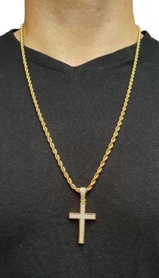 Cordão Corrente Baiano Banhado Ouro 18k 70cm Com Pingente