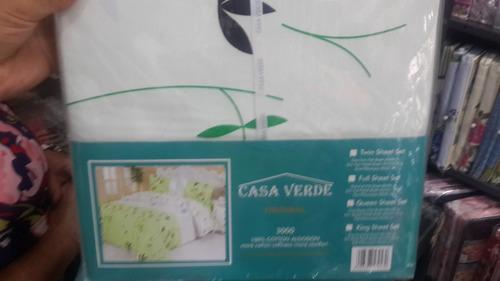 Juego De Sabana Queen Marca Casa Verde