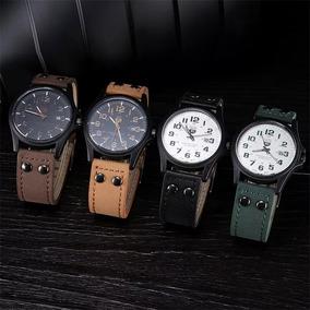 Relógio Masculino Luxo Pulseira Couro Preto Marrom Castanho