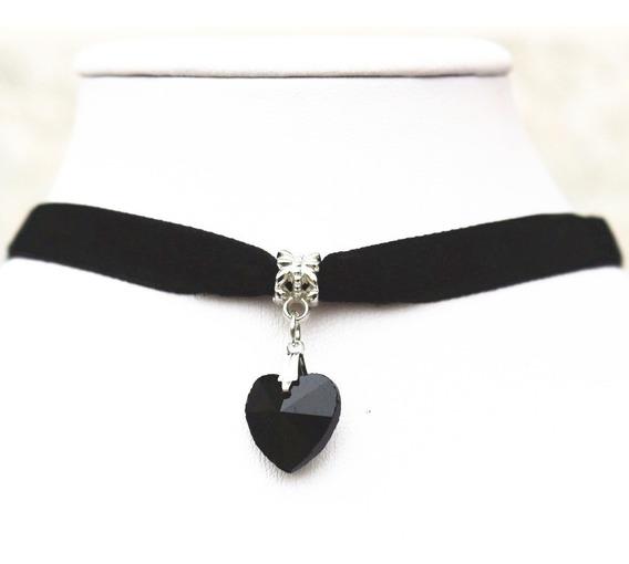 Collar Gargantilla Choker Corazón Negro Regalo G-033 F