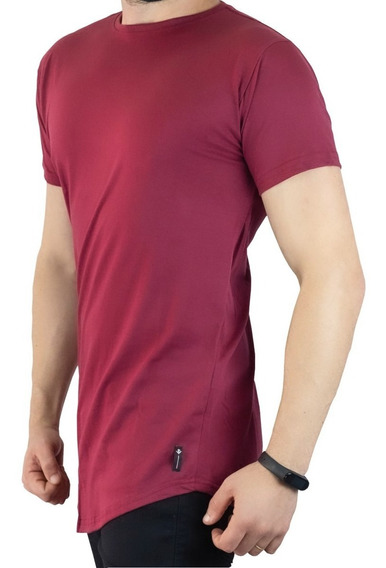 Camiseta Longline Masculina C35 Rosa Salmão - Bordô