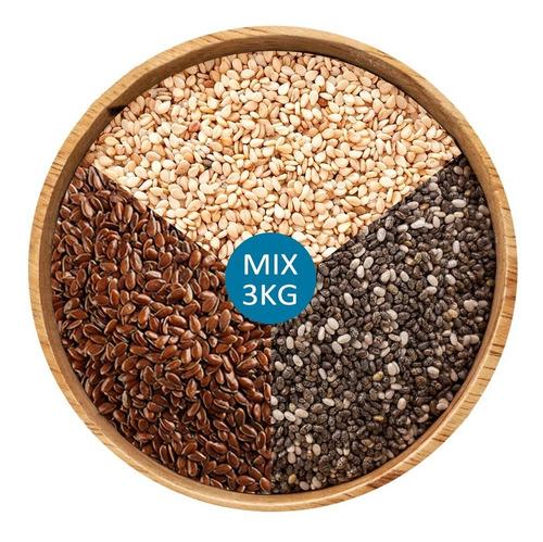 3kg Semillas De Chia + Semillas De Lino + Sesamo Integral
