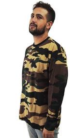 Camiseta Manga Longa Camuflada Estilo Bape Supreme