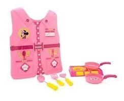 Kit Cozinha Infantil Minnie Disney Completa Colete Utensilio