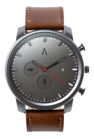 Reloj Hombre Abaco Formal Moderno Diseño Cuero Estuche