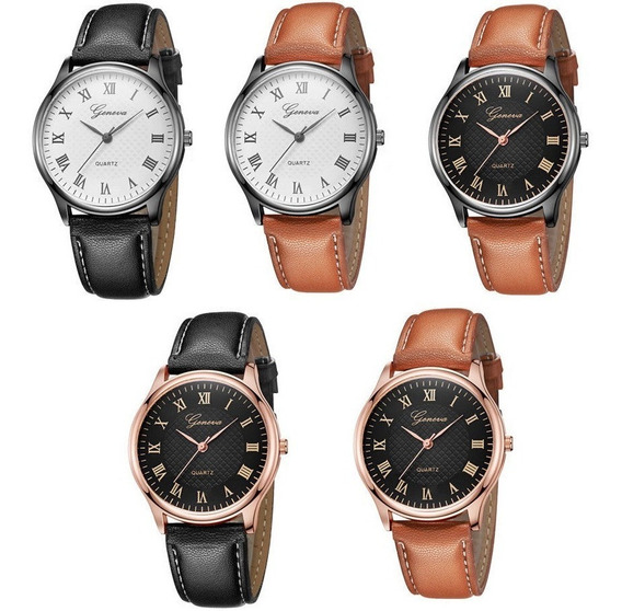 Kit 5 Relógio Barato Feminino Luxo Social Geneva Modelo F28