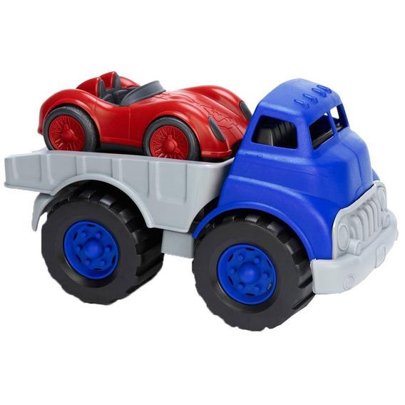 Green Toys - Camión Plano Y Coche De Carreras