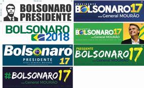 Adesivo Bolsonaro 2018 - 18x5cm - 100un