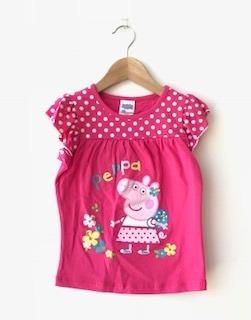 Polera Peppa Pig Niña Manga Corta Rosada